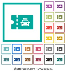 Taxi discount coupon flat color icons with quadrant frames on white background