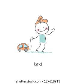 Taxi driver. Illustration.