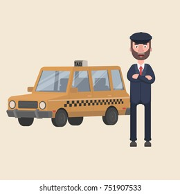 A taxi driver is waiting outside his car. Vector illustration in cartoon style