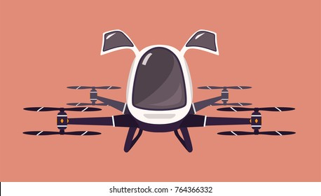 Taxi drone or passenger quadcopter. Flying futuristic rotor vehicle. Modern unmanned electric aircraft or automated quadrotor isolated on pink background. Cartoon colorful vector illustration.