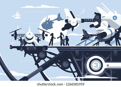 Taxi drone or passenger quadcopter station vector illustration. People flying on big futuristic rotor vehicle. Modern unmanned electric aircraft or automated quadrotor