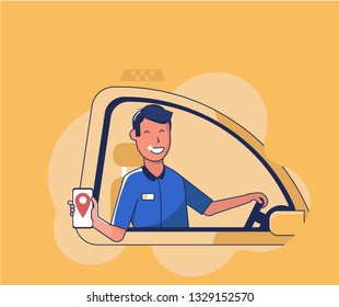 Taxi flat illustration with smiling driver male character in car in uniform. Poster with city cab in vector design.