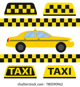 Taxi, taxi icon, transport for passengers. Flat design, vector illustration, vector.