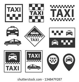 taxi icons, taxi service signs set in vector