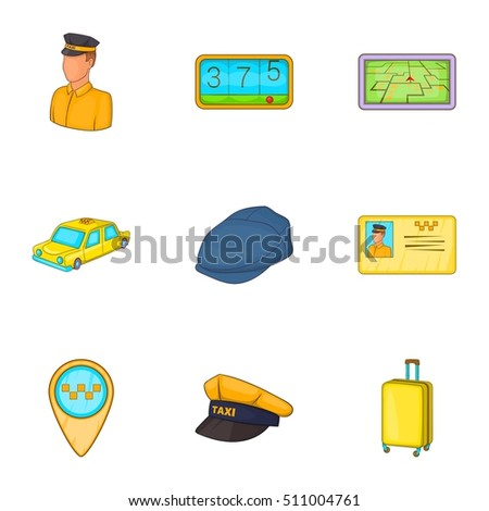 Taxi Icons Set Cartoon Illustration Of 9 Vector For Web