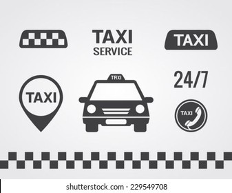 Taxi icons set, Flat style