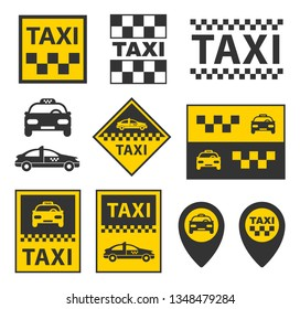 taxi icons set, taxi service signs in vector