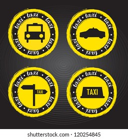 taxi icons and stamps over black background