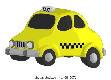 Taxi isolated on a white background.