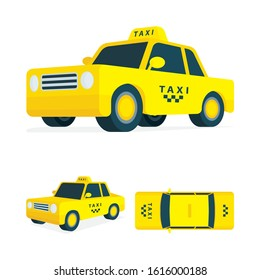 Taxi. Isometric taxi vector illustrations collection. Low poly taxi car graphic. Simple drawing car top, side and front views. Part of set.