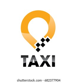 Taxi logo concept on light background,taxi point graphic icon