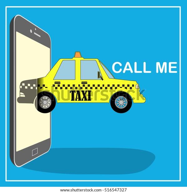 Taxi Mobile Cab Service Icon Design Stock Vector (Royalty