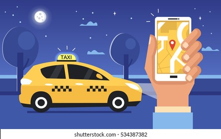 Taxi at night concept. Man call a taxi by smartphone. Vector illustration.