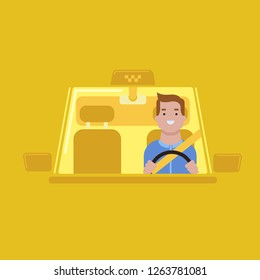 Taxi online service flat vector concept with driver sitting in car.