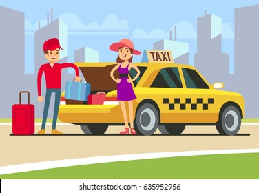 Taxi with open boot. Happy client and smiling driver. Taxi driver put baggage in car trunk. Young smiling girl with taxi cab on urban landscape. Vector Illustration.