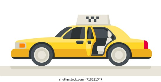 Taxi with open door. Inside car. Yellow vehicle. Taxi call service. Fast delivery. Car with comfortable salon. Catch a cab. Fit a car.