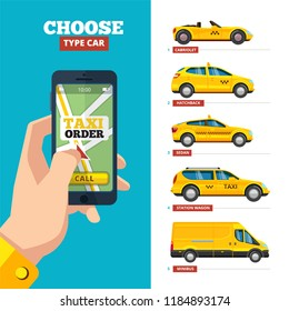 Taxi order online. Hand holding smartphone and view various type of taxi yellow cars cabriolet hatchback sedan station wagon and minibus city transport vector pictures collection