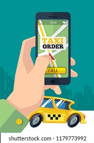 Taxi order. Urban transportation hand holding smartphone with map on csreen and make order online uber mobility yellow car vector concept
