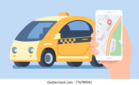 Taxi ordering service. Hand with smartphone using application with map. Vector illustration