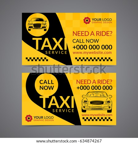 taxi pickup service business card layout template create your own business cards mockup vector