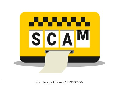 Taxi scam - taxi is cheating with meter - overcharging and expensive fare for transportartion. Vector illustration
