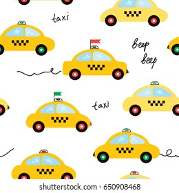 Taxi seamless pattern illustration in cartoon style, vector graphic