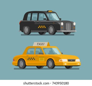 Taxi service, cab concept. Car, vehicle, transport, delivery icon or symbol. Cartoon vector illustration
