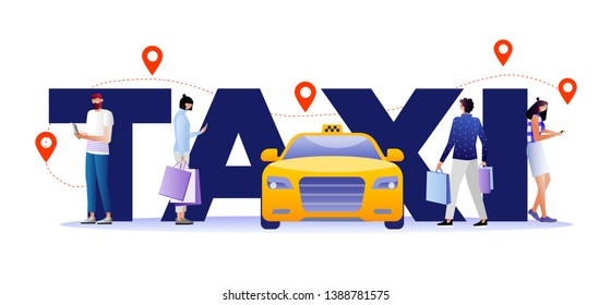 Taxi Service Concept. Driver in Yellow Cab Waiting Passengers and Delivering People to Destination. Mobile App to Call Car with Driver Poster, Banner, Flyer, Brochure. Cartoon Flat Vector Illustration