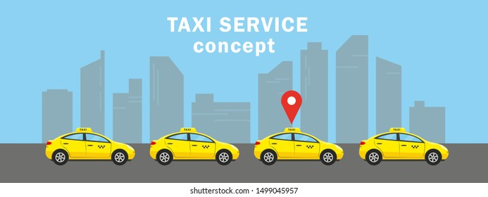 Taxi service concept. Four yellow cars in city for choose and rent. Vector illustration.