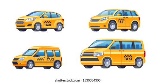 Taxi service concept. Set of different modern types of yellow taxi cars, isolated over white background vector illustration flat. Cars sedan, hatchback, wheelchair van, minibus, suv template