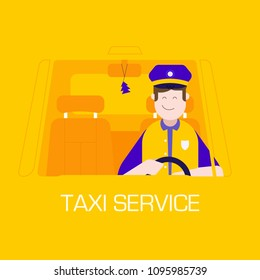 Taxi service concept with smiling male character driving car in cap and uniform. Public auto transport. City cab service with happy taxi driver man in cabin. Illustration for UI and applications.