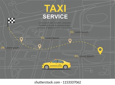 Taxi service concept transporation Business infographic with transport