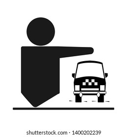 Taxi service icon black with a silhouette of a man and a taxi car