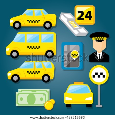 Taxi Service Icon Set Equipment Tools Stock Vector (Royalty Free