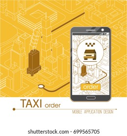 Taxi service mobile application. Isometric city and car on smart phone. Navigate application. Vector illustration.