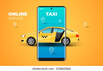 Taxi service mobile display illustration yellow background