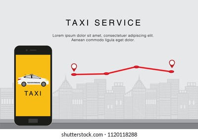Taxi service. Mobile phone with taxi app on city background. Red map path with pin. Flat vector illustration. Call a taxi