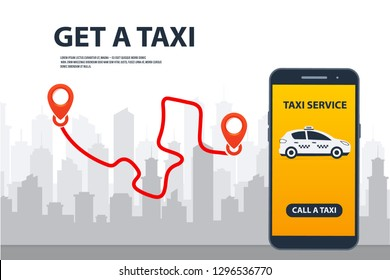 Taxi Service. Phone with interface taxi on a screen. Mobile phone with app and yellow taxi on city background. Taxi online, internet service, navigation gps, cityscape and skyscrapers.