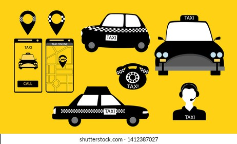 Taxi service signs in vector. Car and mobile app. Vector illustration