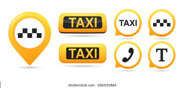 Taxi service vector icons. Taxi map pointer, taxi signs. Taxi service icon set