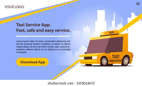 Taxi Services Mobile App with Cute Yellow Cab. Website Template or Home Landing Page Concept. UI Design Mockup. Vector Illustration.
