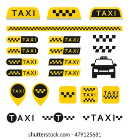 Taxi set icons, logos, buttons, and other vector elements isolated from the background. Yellow checkered signs for taxi or cab services in the flat style. Business taxi stickers.