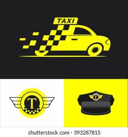 Taxi. Set. Vector sign logo.