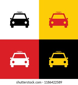 Taxi sign illustration. Vector. Icons of german flag on corresponding colors as background.