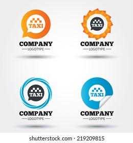 Taxi speech bubble sign icon. Public transport symbol Business abstract circle logos. Icon in speech bubble, wreath. Vector