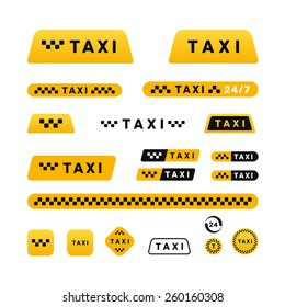 Taxi stylish set of logos icons and stickers
