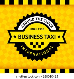 Taxi symbol with checkered background - 03, vector illustration 10eps