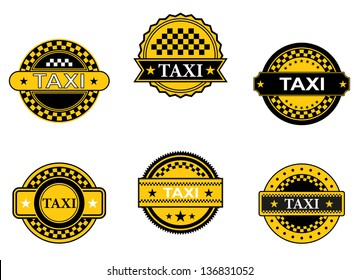 Taxi symbols and signs set for transportation service design, also for emblem or logo template. Jpeg (bitmap) version also available in gallery
