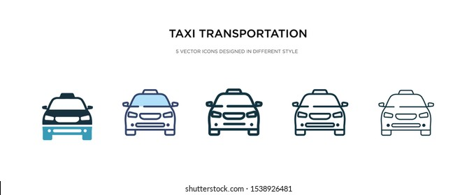 taxi transportation car from frontal view icon in different style vector illustration. two colored and black taxi transportation car from frontal view vector icons designed in filled, outline, line