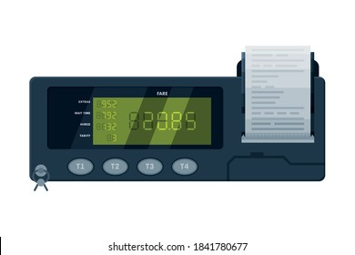 Taximeter Device, Calculating Equipment for Taxi Car, Measurement Appliance with Buttons and Price on Screen Vector Illustration